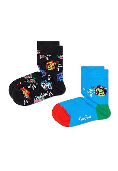 Happy Socks Set 2 perechi de sosete scurte, unisex, imprimeu tigri, Albastru/Negru Fete