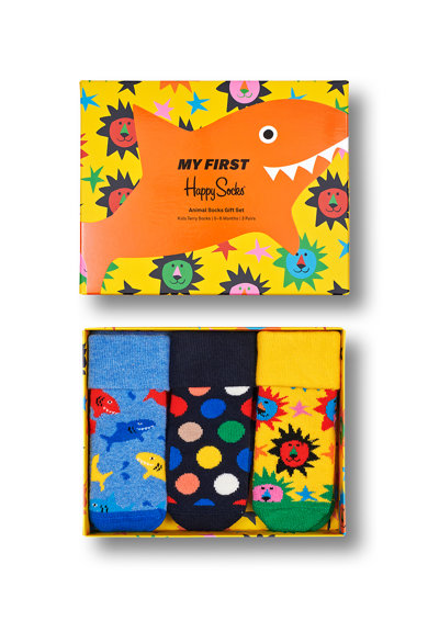 Happy Socks Set 3 perechi de sosete scurte, unisex, cu imprimeuri diverse, Albastru/Galben/Verde Fete