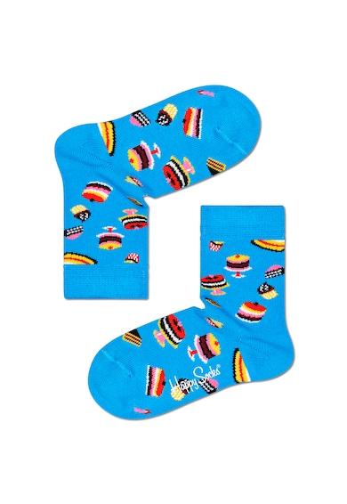 Happy Socks Set 3 perechi de sosete, unisex, cu imprimeu prajiturele, Multicolor Fete