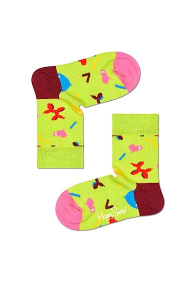 Happy Socks Set 2 perechi de sosete, unisex, cu imprimeuri diverse, Albastru/Verde fistic Fete