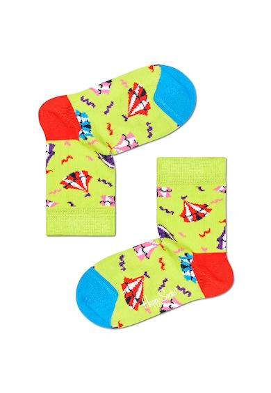 Happy Socks Set 4 perechi de sosete scurte, unisex, cu imprimeu, Multicolor Fete