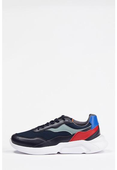 DeFacto Pantofi sport de piele ecologica cu insertii de plasa Barbati