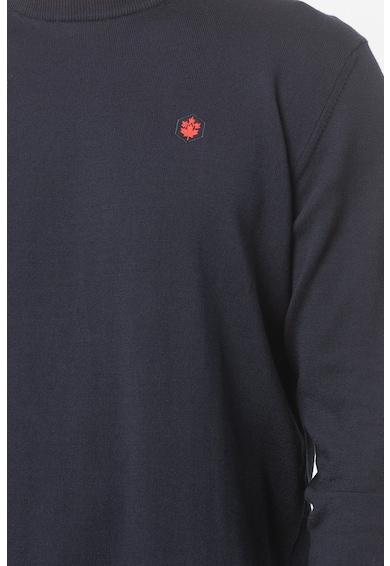 Lumberjack Pulover tricotat fin cu decolteu la baza gatului si logo discret Barbati