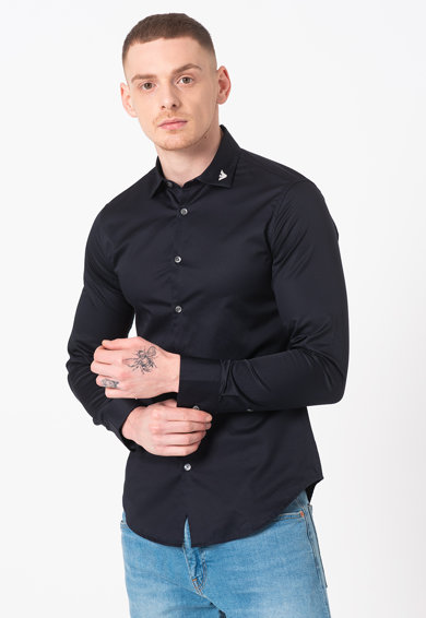 Emporio Armani Риза по тялото с бродирано лого Мъже