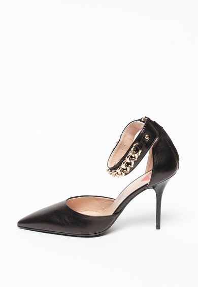 Love Moschino Pantofi din piele cu toc stiletto, varf ascutit si lant Femei