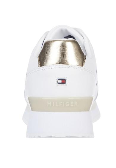 Tommy Hilfiger Pantofi sport de piele cu insertii metalizate Interlock City Femei