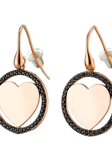 Loisir by Oxette Cercei drop cu detaliu in forma de inima si zirconia, placati cu aur rose de 14K Femei