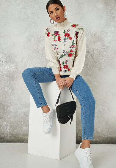 Missguided Pulover tricotat fin cu detalii brodate Femei