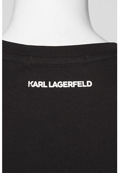 Karl Lagerfeld Bluza sport din bumbac organic cu aplicatii Karl si Choupette Ikonic Femei
