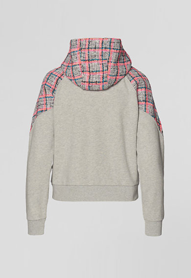 Karl Lagerfeld Hanorac cu insertie din lana boucle cu model in carouri Femei