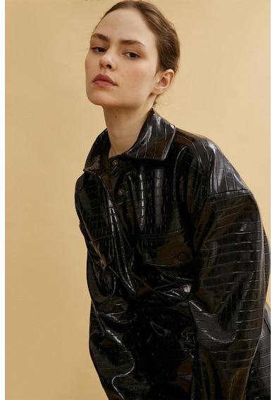 KOTON Jacheta de piele ecologica cu aspect de piele de crocodil Femei