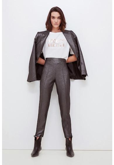 Motivi Pantaloni cu talie inalta si aspect stralucitor Femei