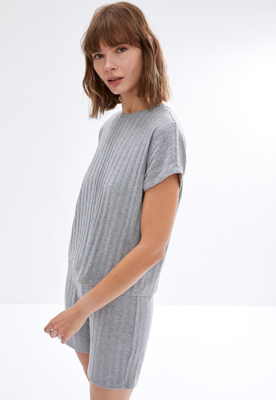 DeFacto Pijama din jerseu cu striatii si maneci lungi Femei