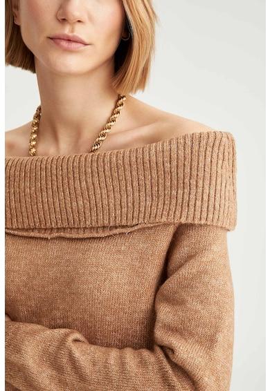 DeFacto Rochie midi tricotata fin cu decolteu pe umeri Femei