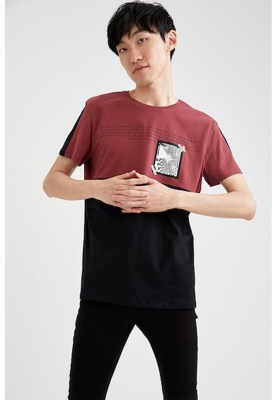 DeFacto Tricou cu model colorblock si diverse imprimeuri Barbati