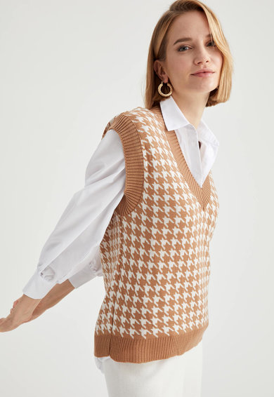DeFacto Vesta tricotata cu decolteu in V Femei