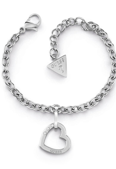Guess Bratara din lant cu talisman inima si cristale Femei