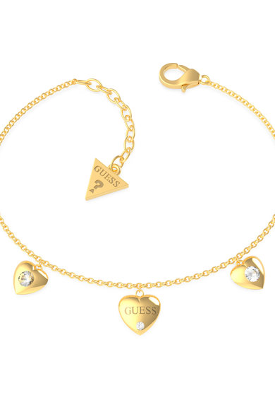 Guess Bratara cu talisman inima si cristal, placata cu aur Femei