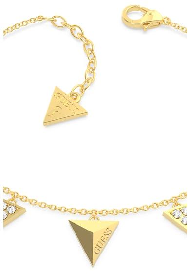 Guess Bratara cu talismane triunghiulare si cristale,placata cu aur Femei