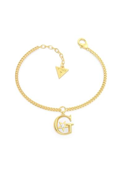 Guess Bratara din otel inoxidabil cu talisman logo,placata cu aur Femei