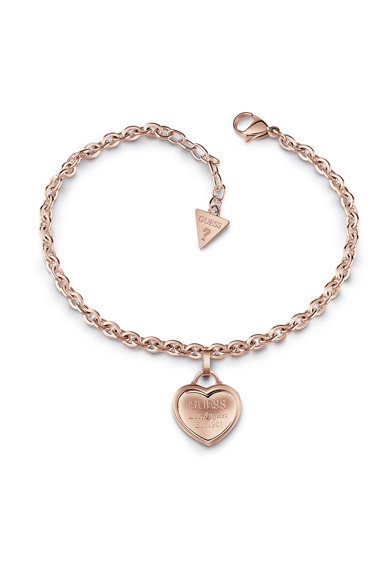 Guess Bratara ajustabila din otel inoxidabil,placata cu aur, cu talisman in forma de inima Femei