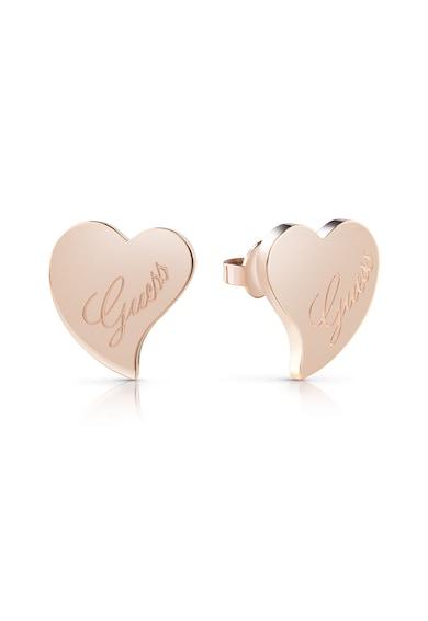 Guess Cercei in forma de inima, cu logo stantat Femei