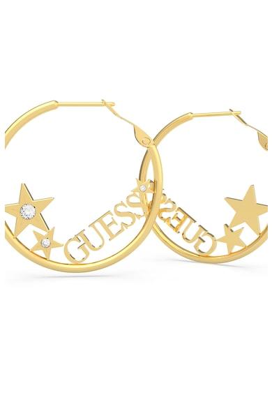 Guess Cercei rotunzi placati cu aur si decorati cu cristale Femei