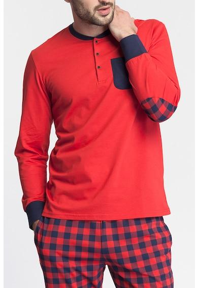 Sofiaman Pijama de bumbac uni si cu model gingham Nature Call Barbati