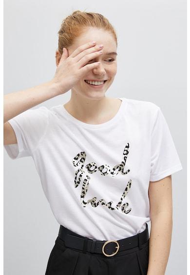 KOTON Tricou cu decolteu la baza gatului si imprimeu text Femei