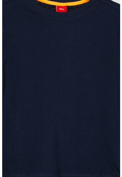 s.Oliver Set 2 tricouri cu decolteu la baza gatului, baieti, cu dungi si uni, Bleumarin/Verde Baieti