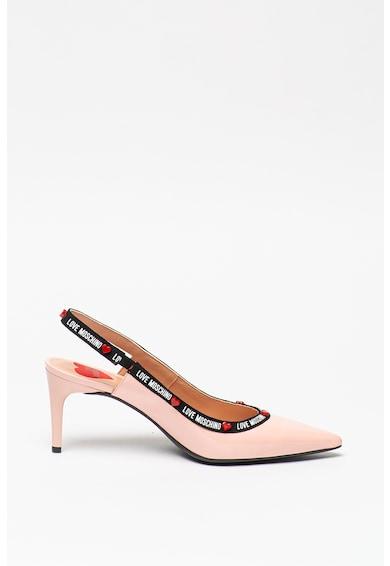 Love Moschino Pantofi slingback de piele lacuita cu benzi logo Femei