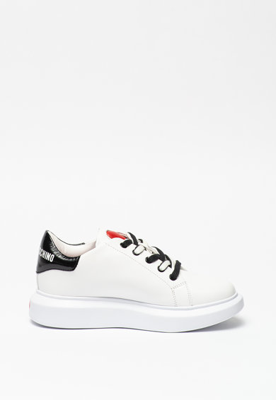 Love Moschino Pantofi sport de piele cu sireturi in doua nuante Femei