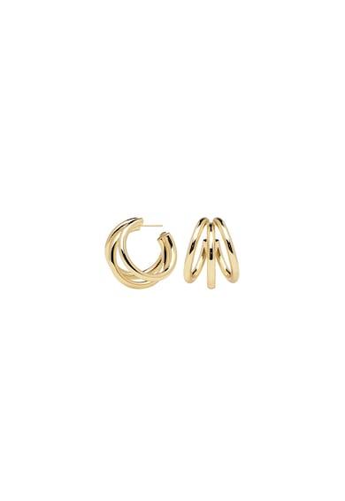 PDPAOLA Cercei rotunzi placati cu aur de 18K, cu benzi multiple Femei