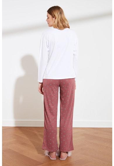 Trendyol Pijama lunga cu imprimeu grafic Femei