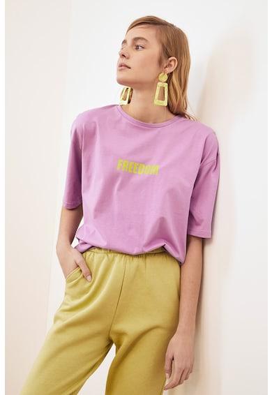 Trendyol Tricou cu imprimeu text si maneci cazute Femei