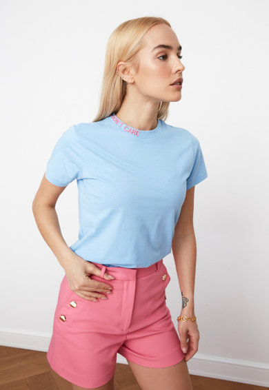 Trendyol Tricou de jerseu cu text brodat pe guler Femei