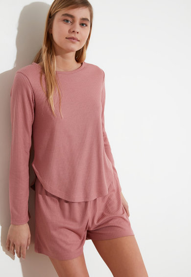 Trendyol Pijama cu striatii si decolteu rotund Femei