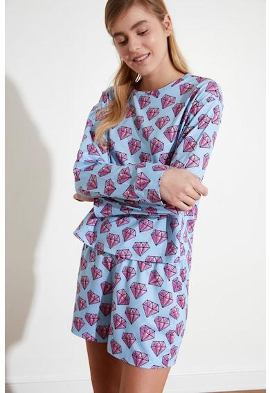 Trendyol Pijama cu maneci scurte si imprimeu grafic Femei