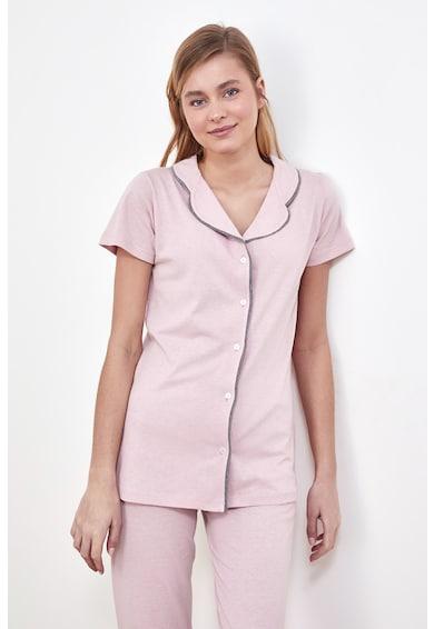 Trendyol Pijama de bumbac cu detalii contrastante Femei