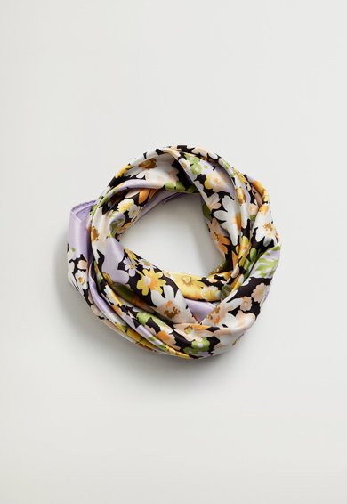 Mango Esarfa patrata cu imprimeu floral Lulito Femei