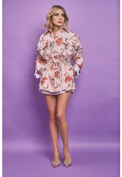 MIAU by Clara Rotescu Jacheta din amestec de lana si casmir cu imprimeu Bella Femei