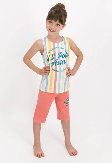 U.S. Polo Assn. Pijama cu dungi si imprimeu logo Fete
