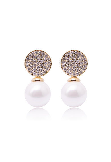 Annie Rosewood Set se cercei placati cu aur, bratara rigida si colier decorat cu perle si zirconia Femei