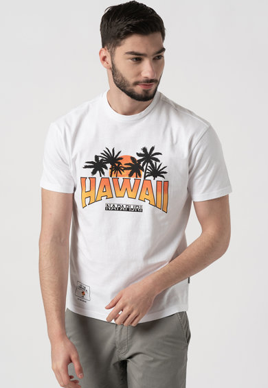Napapijri Tricou cu decolteu la baza gatului, imprimeu tropical si logo Sirre Barbati