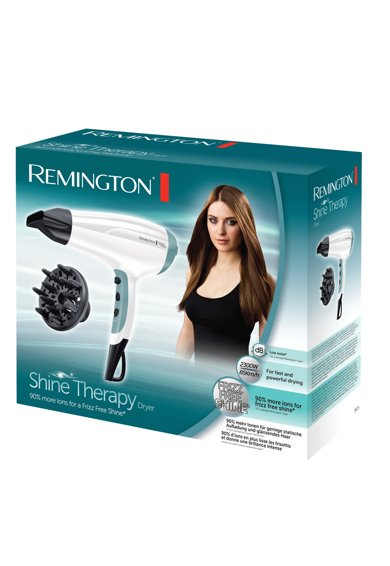 Remington Uscator de par  Shine Therapy , 2300W, Ionizare, 3 trepte de temperatura, 2 viteze, CoolShot, concentrator, difuzor, Alb/Albastru Femei