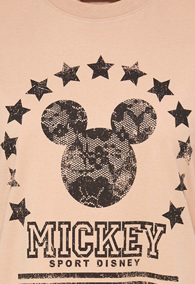 Only Tricou cu decolteu la baza gatului si imprimeu Mickey Mouse Femei