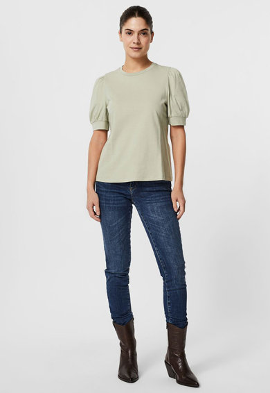 Vero Moda Tricou din bumbac organic cu maneci bufante Femei