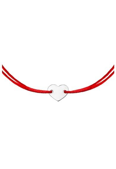 Zea et Sia Bratara tip snur cu talisman in forma de inima din aur alb de 14K Femei
