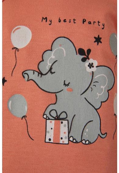 DeFacto Set de salopeta si body cu imprimeu cu elefant Fete