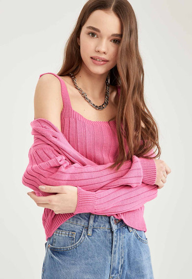 DeFacto Top crop tricotat slim fit cu bretele multiple Femei